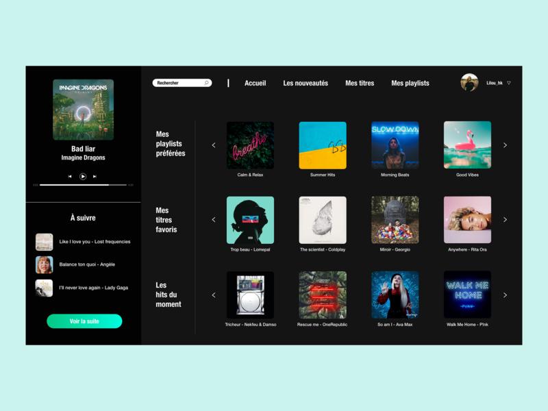 / Music player / music app webapplication website web design design adobe xd dailychallenge dailyui ui webdesign musicplayer music