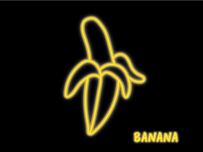 / Neon Illustration / yellow banane banana illustrator vector illustration neon colors neon light neon