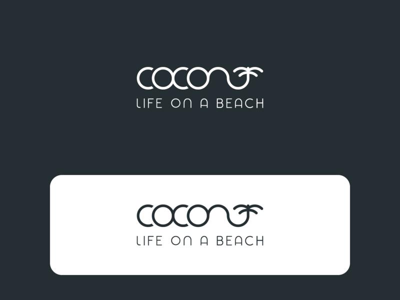 Coconut life on a beach logo