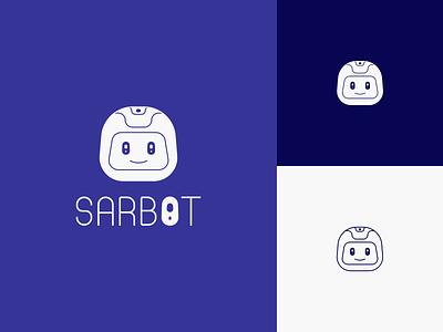 Sarbot logo responsive blue branding app challenge graphicdesign dailyicon chatting chat bot boy robot design illustration logo