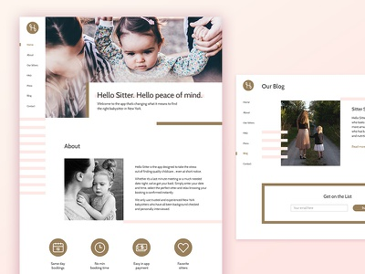 Hello Sitter baby ux main page geometric website web ui white pink clean minimalistic design