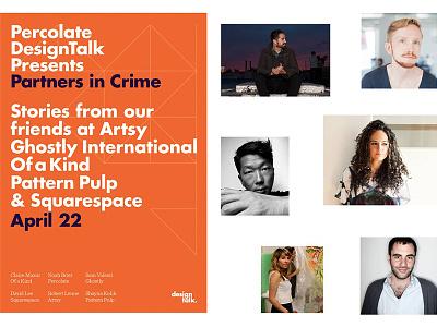 Percolate Design Talk invite designevent design event