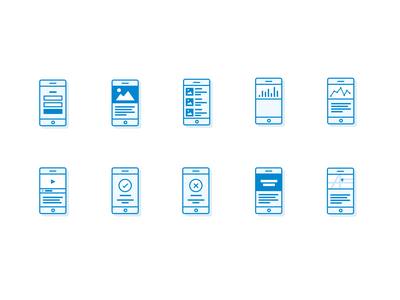 Sketch freebie: Mobile Icons vector wireframe line blue flowchart freebie sketch free icons mobile