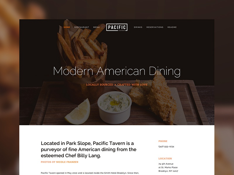Pacific ui web squarespace template theme website restaurant food photography
