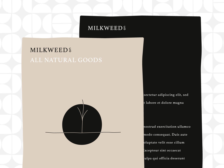 Milkweed Co. Label natura minimalist logo minimalist minimal simplicity simple tan white black muted colors muted label packaging label design label packaging logo design branding design brand identity