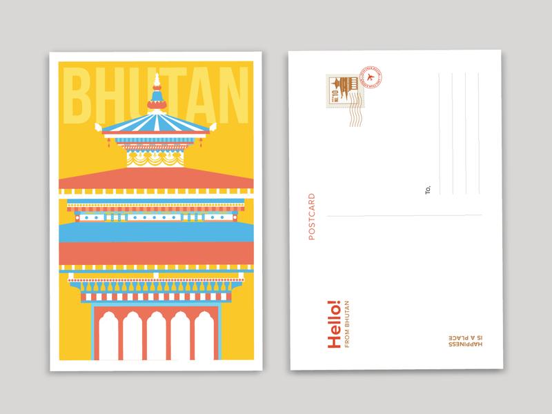 Bhutan digital illustration vector art adobeillustrator illustration art flat illustration geometric illustration illustration design illustration travel illustration travel postcards