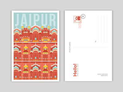 Hawa Mahal - Jaipur travel illustration flat illustration illustration design vector art illustration art digital illustration illustrator illustration adobeillustrator jaipur art jaipr illustration jaipur hawa mahal