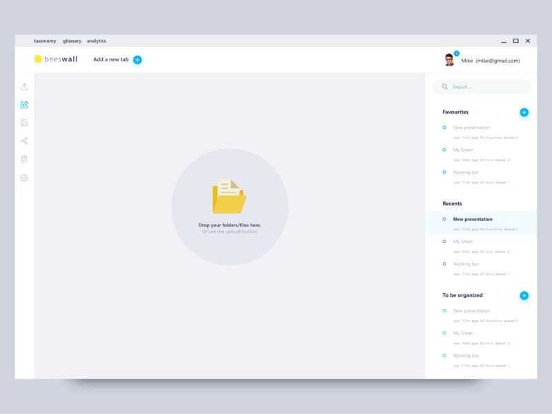 BeesWall - Folder and storage organzation app simple ui concept software clean minimal flat clean app design google windows app redesign concept dashboard ui app