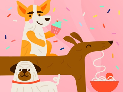 party pups dog illustration food cupcake sprinkle dogs pink design illustration