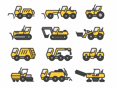Icons of road construction and harvesting equipment icons set icons tractor roller asphalting work truck making surface sign symbol drudging surfacing equipment asphalt paver road paving icon vector