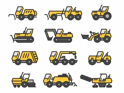 Icons of road construction and harvesting equipment