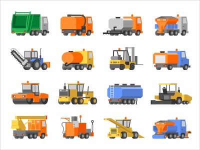 Icons of road construction and harvesting equipment asphalt set truck paving paver tank roller loader road tractor ux ui icons car symbol sign icon equipment illustration vector