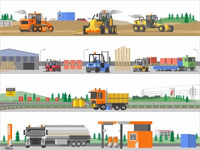 Illustrations for the website work building warehouse gas station truck refueller tanker autoloader loader motor grader website asphalt tractor car equipment design vector illustration