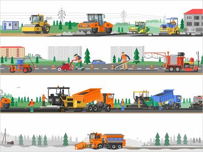 Illustrations for the website landscape paving paver construction roller road icon truck art asphalt tractor car equipment design illustration vector