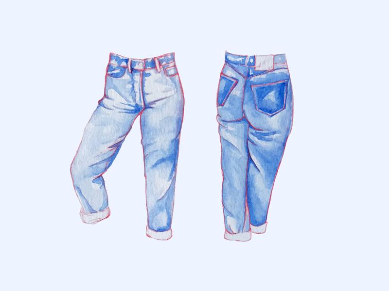 501s jeans levis watercolor illustration