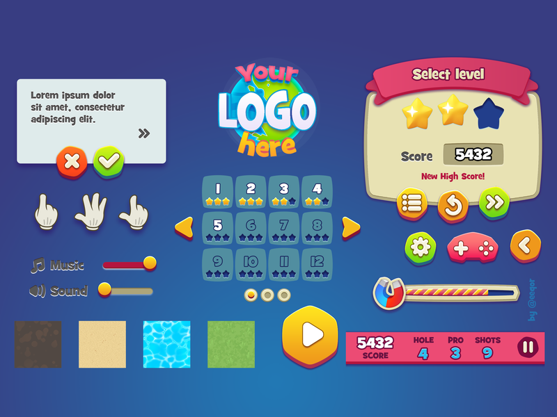 Casual game UI KIT by Yegor on Dribbble