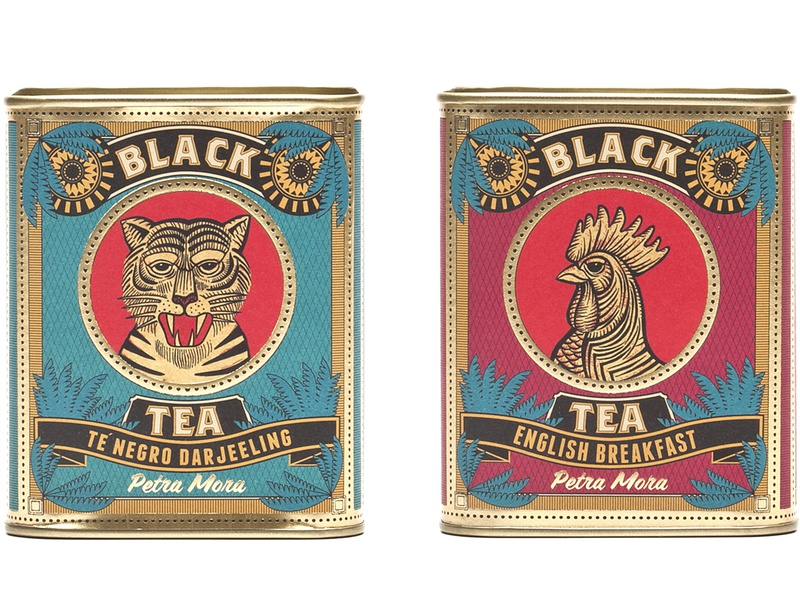 Packaging Design Iria Prol Petramora Tea 27 graphic design brand graphic  design photoshop brush illustrator handdrawn tea party tea cup vintage gold coffee food  drink gourmet petra mora tea logo tealovers tea packaging branding illustration