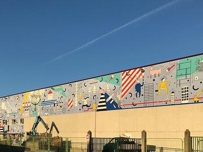 Mural for Industrias Proa Paint Factory paint design architecture urbanart streetart illustration mural
