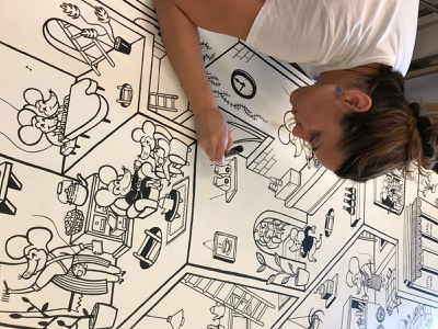 iria prol mural ilustracion ratinos 2 restaurant design interiors posca hand drawn handmade illustration art illustration murals mural design mural