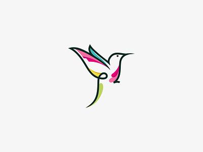 Kolibri Logo monoline unique simple kolibri bird animal