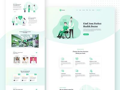 Medical Service Template color simple color design creative ux design photoshop minimal web template landing page ui design