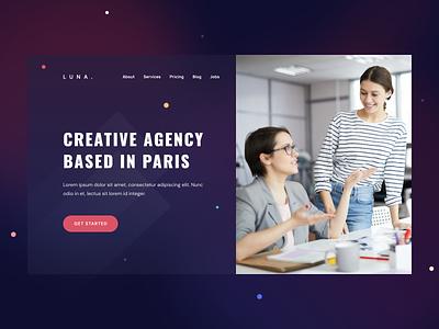Creative Agency Header landing page easy minimal gradient color web template hero header agency trendy creative ux design ui design