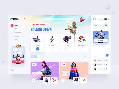 Fortnite season 3 - Dashboard Design 🎮 dashboard design dashboard ui season 3 fornite interface design game minimal interface ui interaction website uxdesign webdesign uidesign