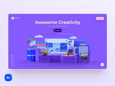 Ninja Creativity 🐱‍💻 ninja agency website cinema4d landing page interface illustration interface design minimal webdesign ui website uxdesign interaction uidesign