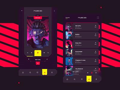 App MusicGo 🎧 cyberpunk 2077 minimal playlist interaction interfacedesign uxdesign uidesign play music app futurist app appdesign