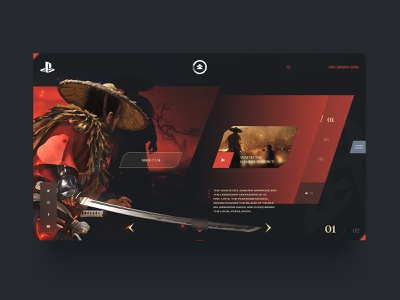 Ghost of tsushima interface minimal ps4 mobile design web ui interactiondesign interface design uxdesign uidesign playstation4 game webconcept website