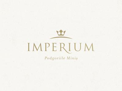 Imperium Wines logo emblem king crown gold royal identity brand wine symbol mark logo