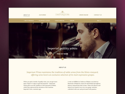 Imperium website web design royal elegant gold crown branding store simple ui wine webdesign website