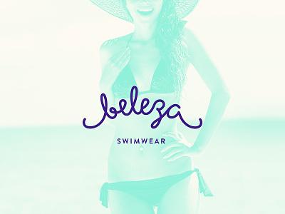 Beleza Swimwear logo branding lettering summer sea bikini wordmark logotype typography design logo swimwear identity