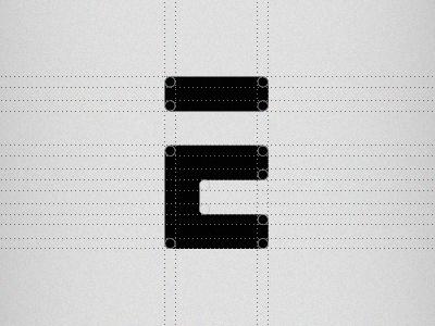 Old logo revamp letter e icon symbol mark logo brand grayscale grids guides lines black design