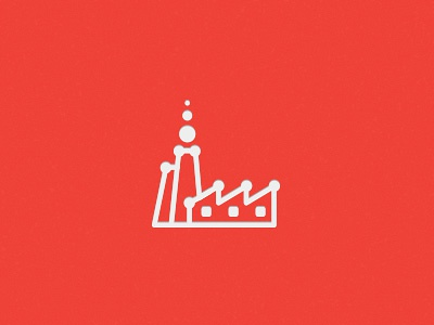 Factory Icon symbol mark icon factory design logo sign emblem red industry line dots