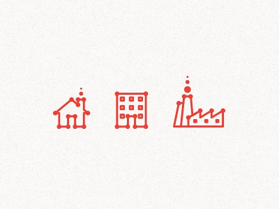 Building Icons emblem symbol sign mark building icon red line dots circle house home flat factory window smoke fume