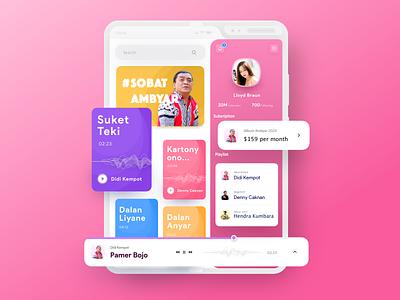 Music Player Sobat Ambyar fold samsung mobile shadow gradient minimal music player music ui ux app app design colors apps