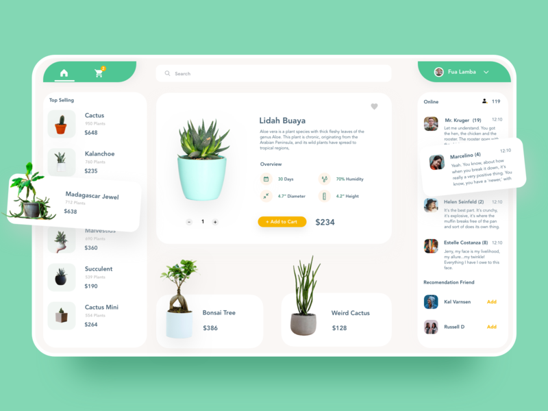 Plant Shop Dashboard uiux add to cart cart minimal green store ecommerse clean desktop ui ux plant dashboard template product design dashboard ui pot plant