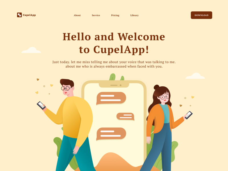 CupelApp - Couple with gadget people lifestyle gadget couple clean landing page design home landing page app design illustration ui ux