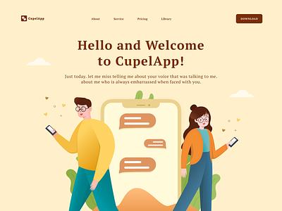 CupelApp - Couple with gadget people lifestyle gadget couple clean landing page design home landing page app design illustration ui ux