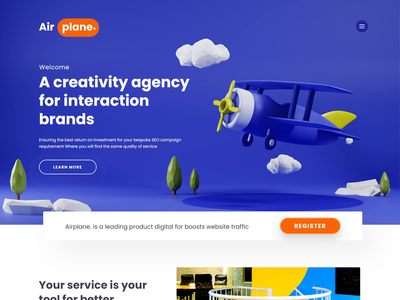3D Agency Airplane. Website Landing Page blendercycles blender logo icon lowpoly design studio bands website design banner hero image plane cloud sky cartoon concept 3d animation studio 3d animation landingpage 3d website