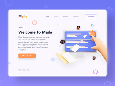 Maile : Service Product Landing Page - Email email illustration homepage low poly blender agency logo uiux landing page ui landing page web agency 3d