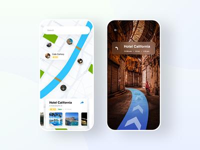 AR Navigantion App navigation ai augmentedreality hotel direction map app ui ux app design