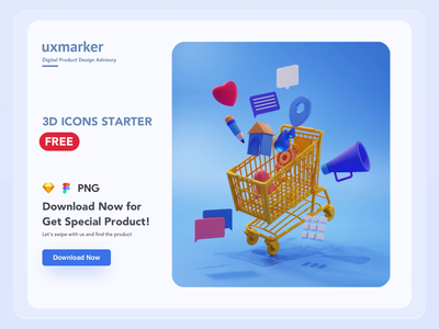 Freebie : uxmarker 3D Icons raw icons hd icons uxmarker icons figma sketch png blendercycles blender 3d animation freebie xd freebies 3d icons freebie 3d lading page