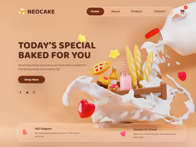 3D Neocake Bakery clean ui ux shopping cart cake shop bakery packaging illustration 3d animation blendercycles blender 3dwebsite 3d design bakery cake landing page
