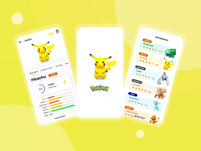 Pokemon Game App uiglass glass prototyping interaction design apple ios design mobile app animatio app animation clean design games gamer pokemon apps illustration game app game