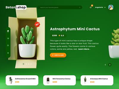 Mini Cactus Landing Page cart shop website design website green design landing page 3d illustration blender ui ux