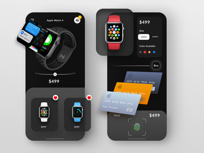 Apple watch app with new card concept elegant simple clean interface luxury simple mobile smartwatch ui ux payment apple watch product buy finger scanner card watch ios apple apps dark app dark