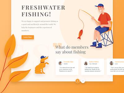 Fishing Web Illustration fishing illustration landingpage