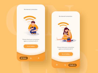No Internet Connection error empty state app design app no internet